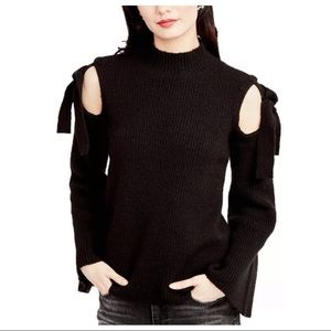 RACHEL Rachel Roy Black Cold Shoulder Knit Sweater